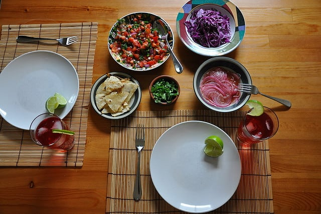 Fiesta: Fish Tacos with Spicy Salsa and Pickled Onions