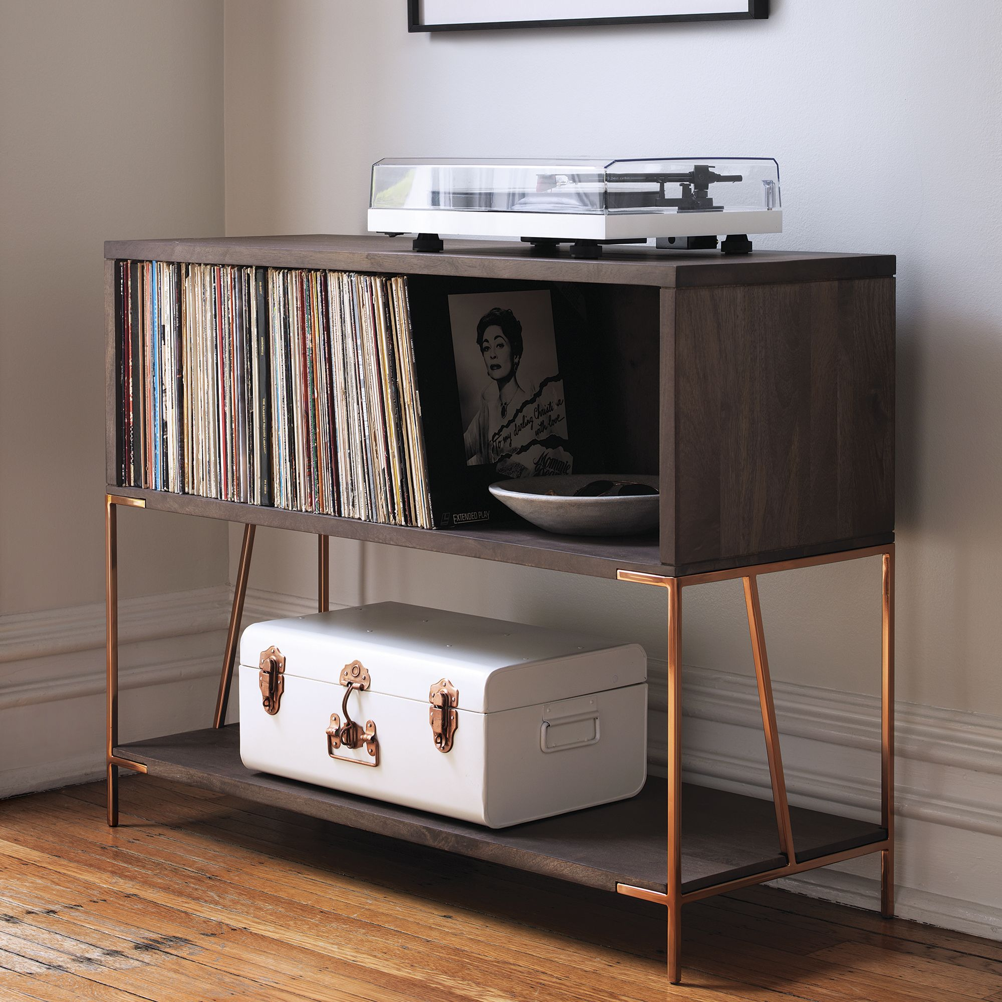Crosley Manchester Entertainment Stand: This Is A Nice, Retro Piece That  Works As Both A Side Table And Record Storage Piece. Itu0027ll Hold About 50  LPs And Is ...