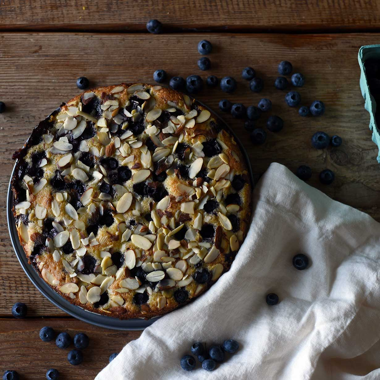 Coconut, Almond, and Blueberry Cake