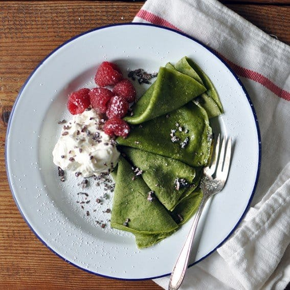Matcha Crepes with Whipped Cream, Berries, and Cacao Nibs
