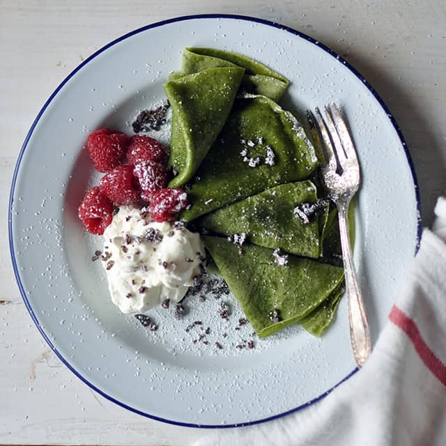 Matcha Crêpes with Whipped Cream, Berries, and Cacao Nibs - Turntable ...