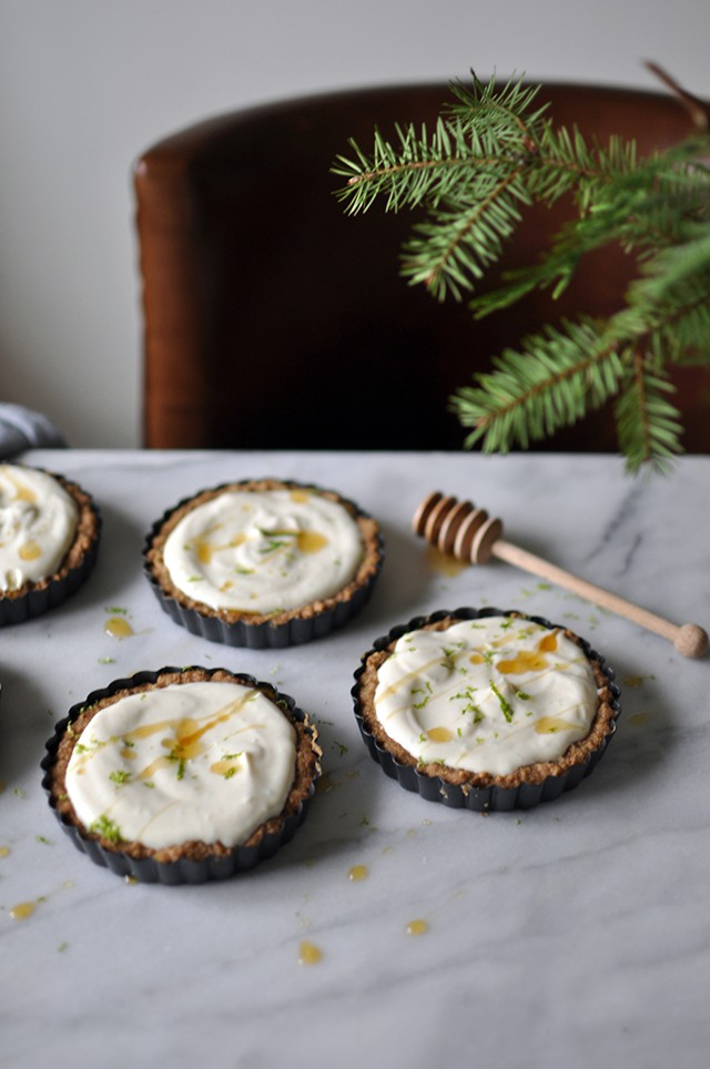 Ricotta-Lime Tarts in Walnut Crust