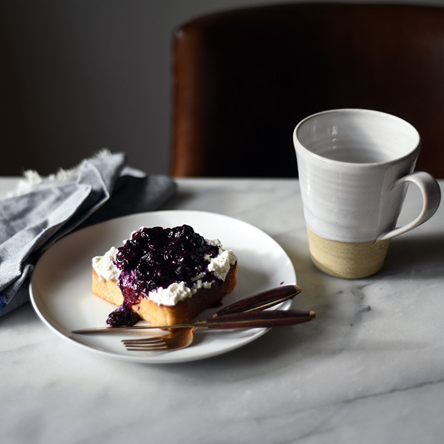Ricotta Toast with Blueberry-Basil Quick Jam