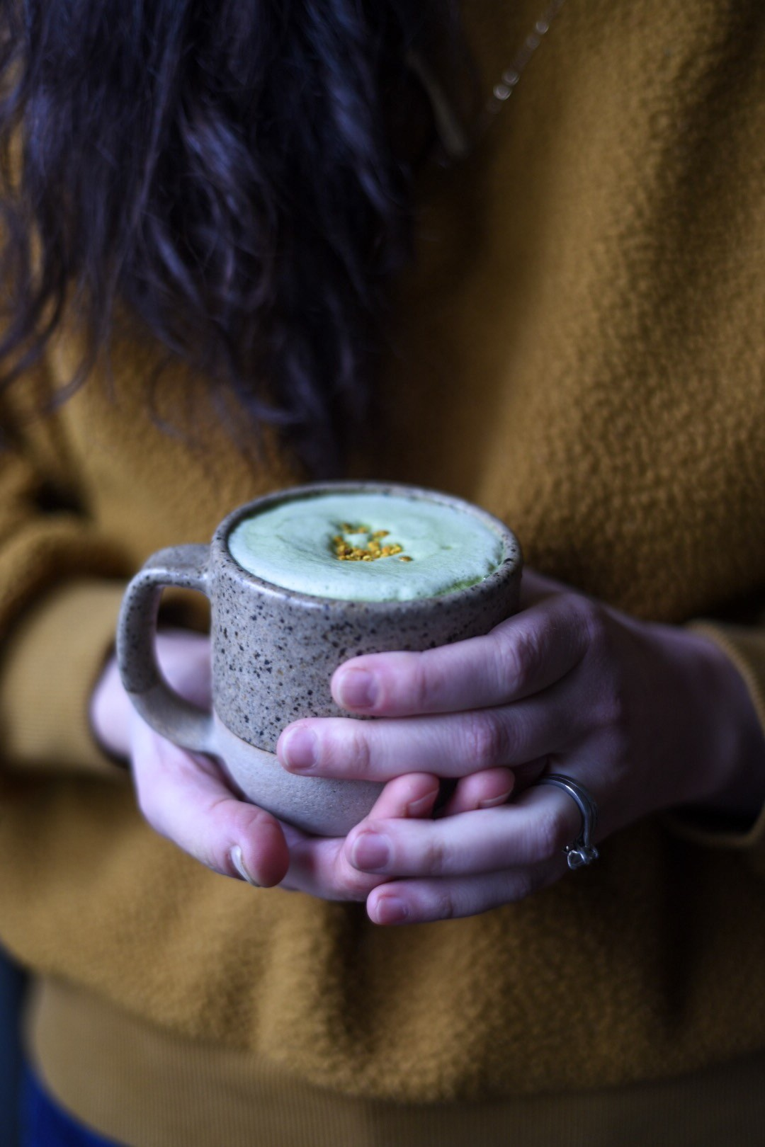 Frothy Matcha Latte (Made in a French Press)