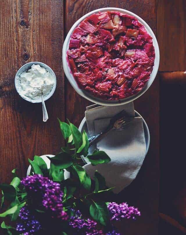 Rhubarb and Rye Upside Down Cake