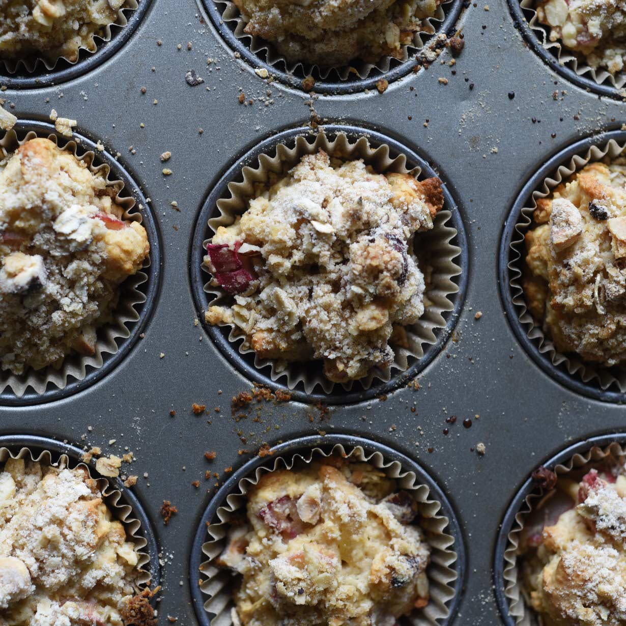 These Rhubarb Muffins with Candied Ginger are moist and super easy to make: all you need is a few bowls and a muffin pan! If you're looking for inspiring rhubarb recipes, look no further than this breakfast and snack time favorite.