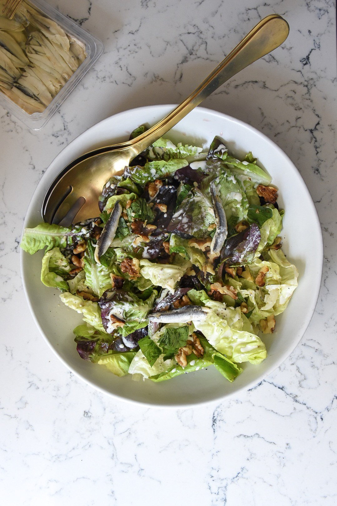 Spring Lettuces with Anchovy Cream recipe