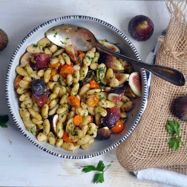 Herbed Parmesan Beans with Tomatoes and Figs