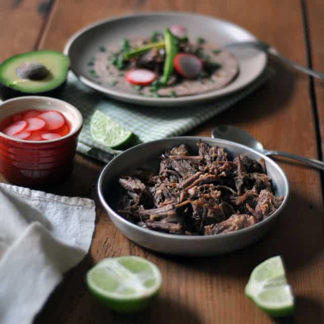 beeftaco lead Slow Cooked Beef Tacos with Quick Marinated Radishes for Cinco de Mayo