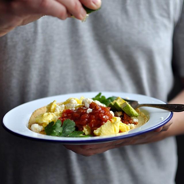 Breakfast Tacos with Soft Scrambled Eggs & Chorizo (Sponsored)