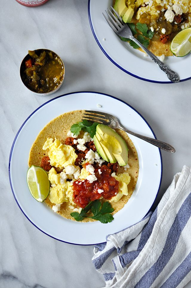 Breakfast Tacos with Soft Scrambled Eggs & Chorizo (Sponsored)