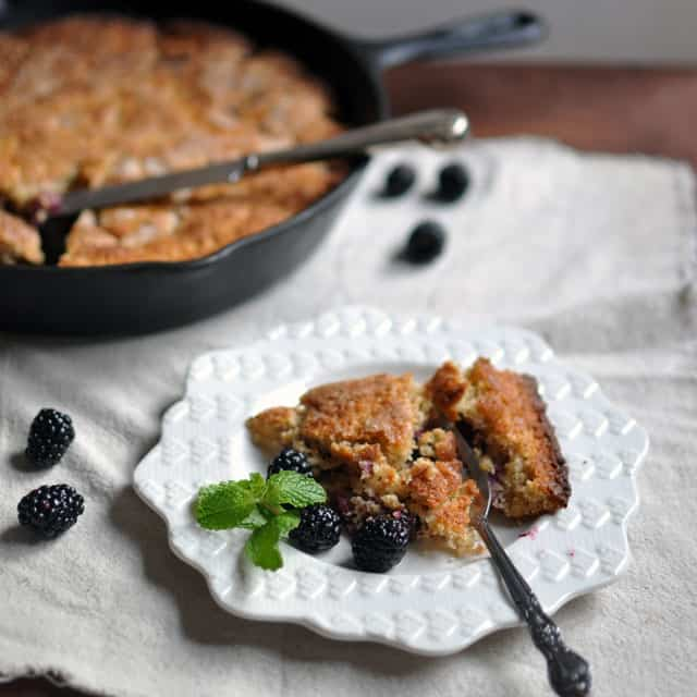 buttermilk cake side Blackberry Almond Skillet Cake, Leaning