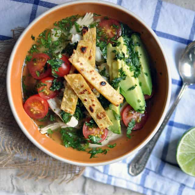 Chicken Soup with Posole and Tortilla Crisps