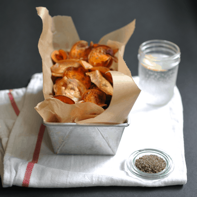 Sweet Potato Chips with Smoked Hickory Sea Salt*