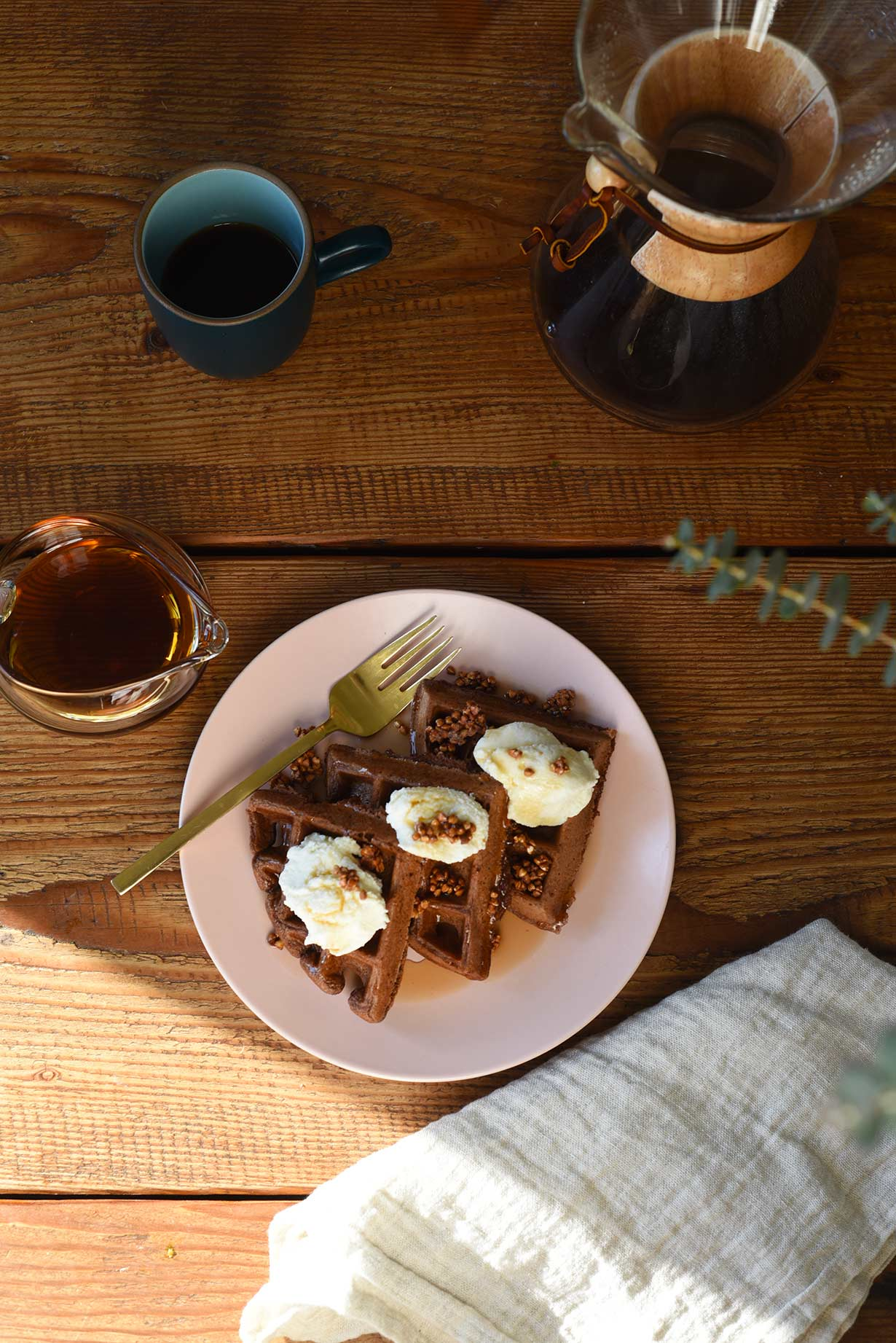Chocolate Waffles with Buckwheat Toasties