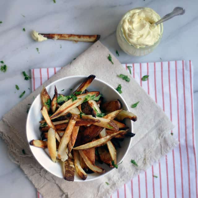 Baked Fries with Malt Vinegar Aioli