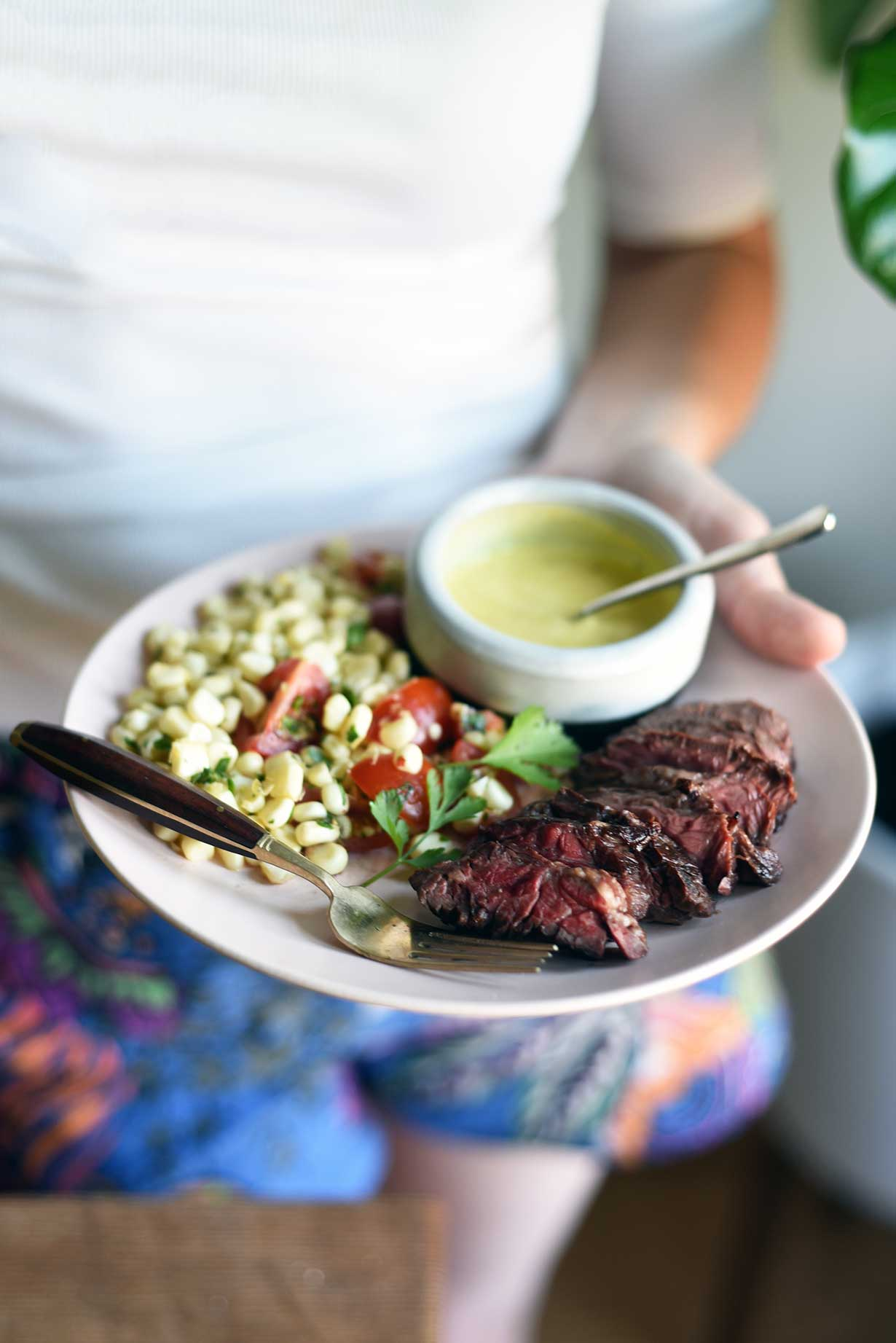 Hanger Steak with Mojo Sauce and Lime-Marinated Corn Salad