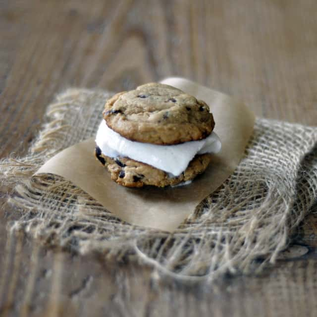 Peanut Butter and Chocolate Chunk Ice Cream Sandwiches