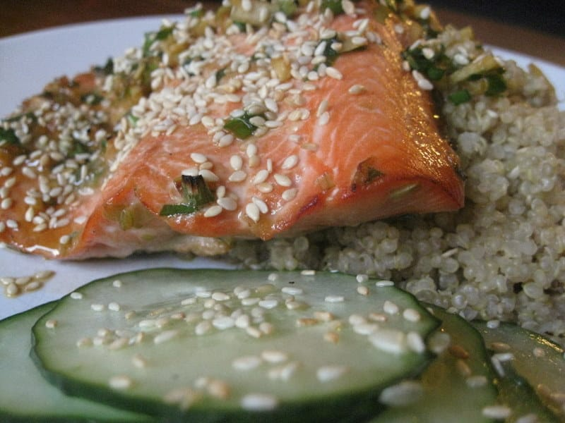 Broiled Wild Salmon in Honey-Sesame Soy Sauce with Sesame Cucumber ...