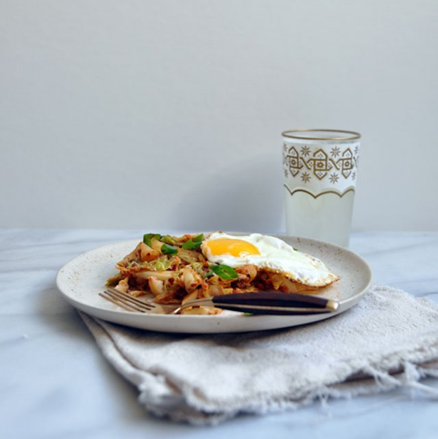 Kimchi Style Cabbage and Fried Eggs (Or, Faux-Chi)