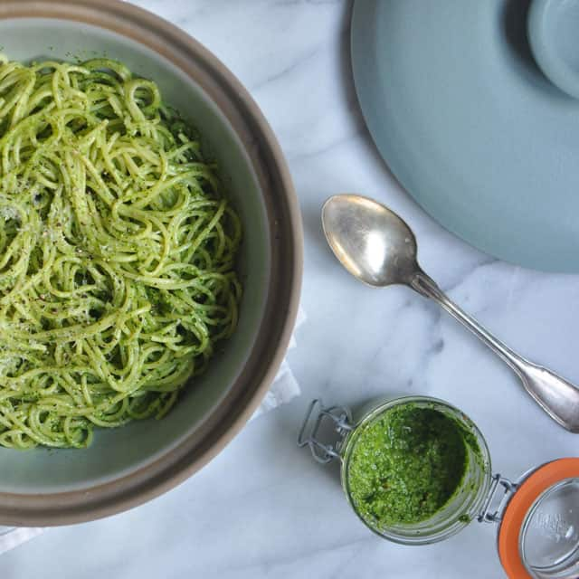Spaghetti with Parsley Pesto