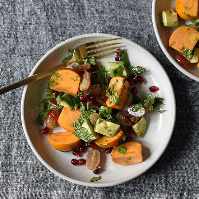 Persimmon Salad with Grapes, Avocado, and Walnuts
