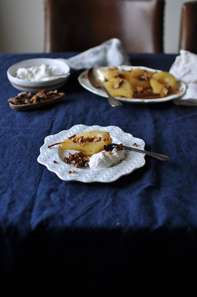 Cinnamon Roasted Pears with Walnut Brittle