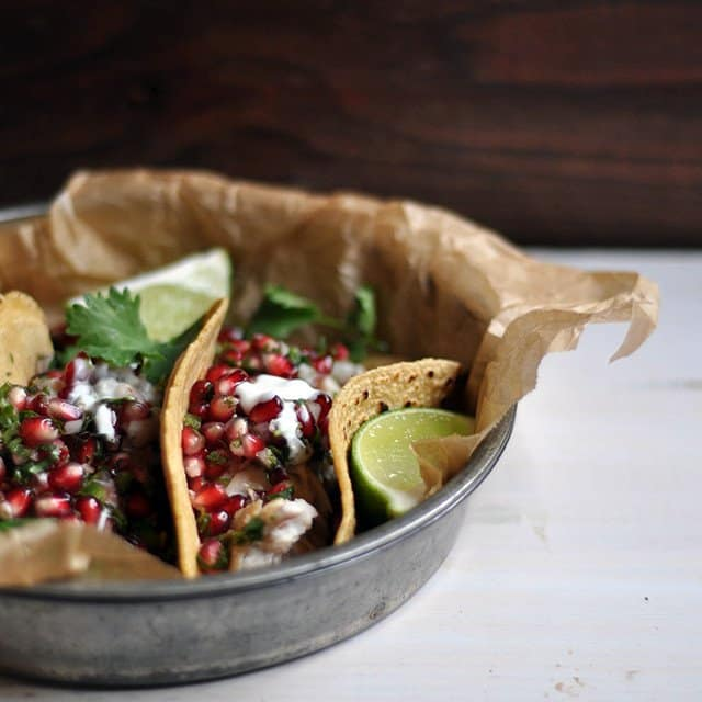 Fish Tacos with Pomegranate Salsa