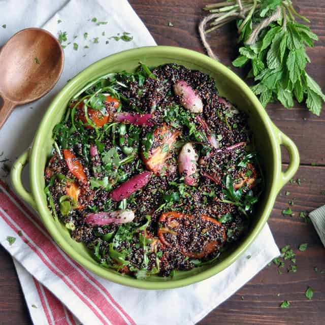 Slow Roasted Tomato, Black Quinoa, and Roasted Radish Salad with Honey-Lemon Dressing