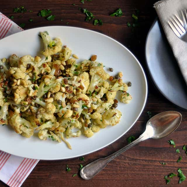 Cauliflower With Pine Nuts And Bacon Recipe — Dishmaps