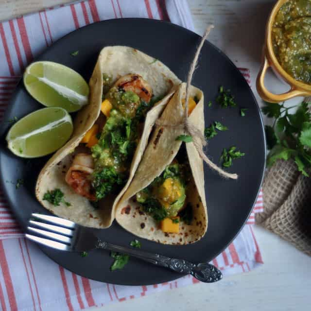 Chipotle Shrimp Tacos with Roasted Tomatillo Salsa