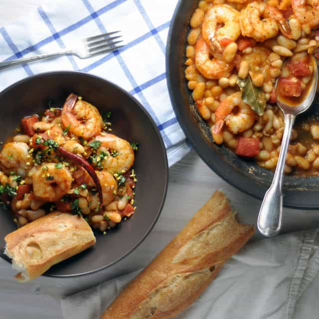 Chile-Spiked Shrimp and Beans with Basil and Pistachios: Onward ...