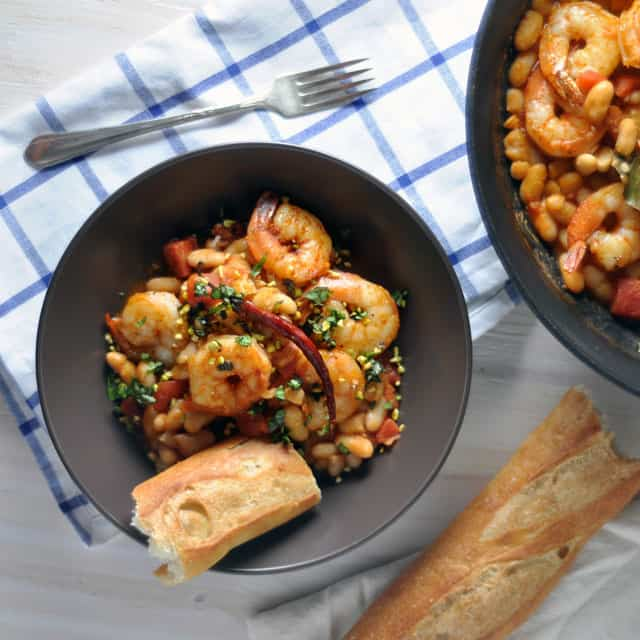 Chile-Spiked Shrimp and Beans with Basil and Pistachios ...