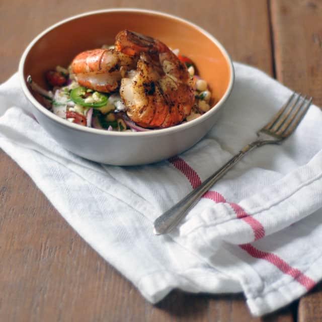 Corn and Jalapeño Slaw with Harissa-Dusted Giant Shrimp