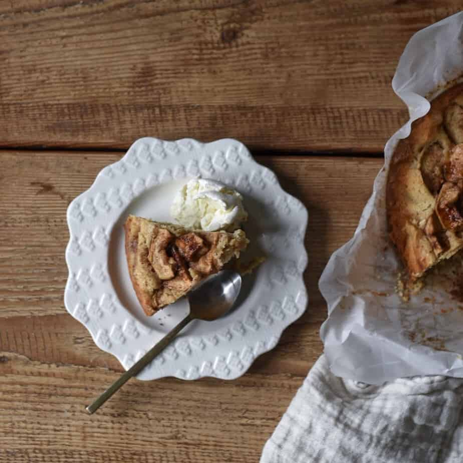 This easy apple cake is moist, sky high, and rich without being too unhealthy. It made with whole wheat pastry flour and Greek yogurt. Get the recipe!