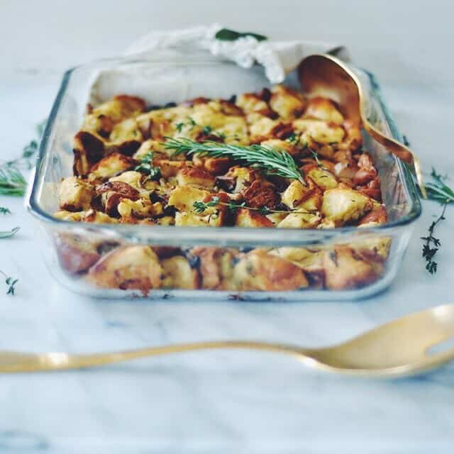 Wild Mushroom and Challah Stuffing with Loads of Herbs