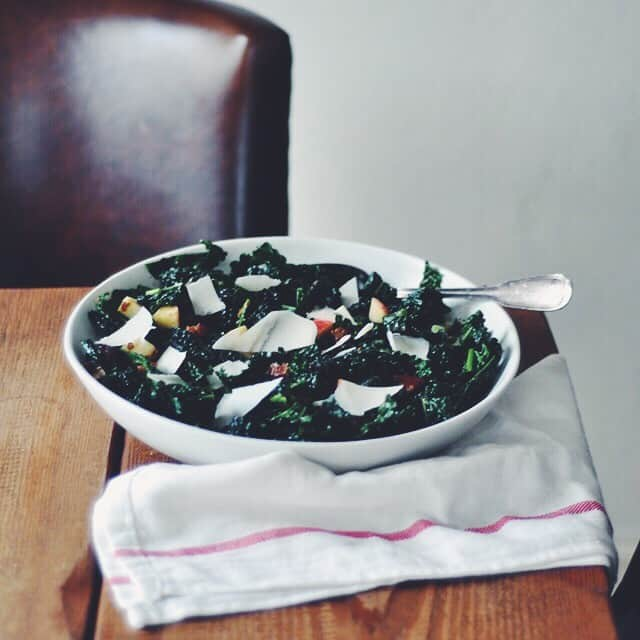 Kale Salad with Apples, Dates, and Warm Pancetta Vinaigrette