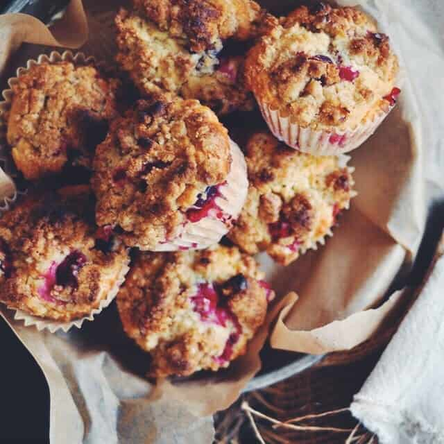 Cranberry Muffins with Walnut Crumb Topping