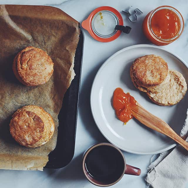 Flakiest Buttermilk Biscuits with Apricot Jam