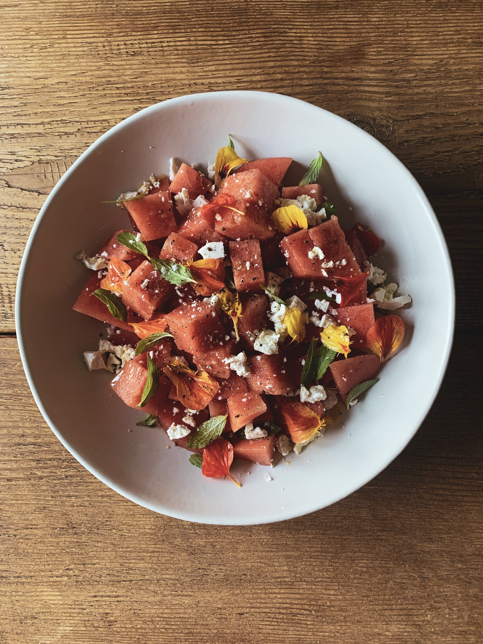 Watermelon Salad with Ricotta Salt, Mint, and Edible Flowers