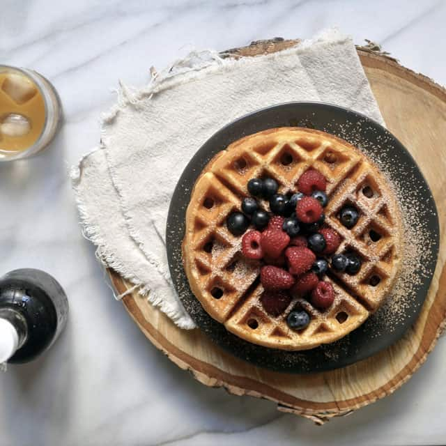 Yeasted Waffles with Berries and Cocoa Sugar